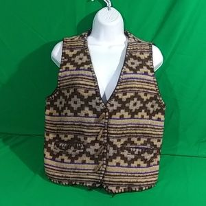 Vintage At Last & Co wool vest w/ wooden buttons
